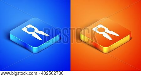 Isometric Old Wood Clothes Pin Icon Isolated On Blue And Orange Background. Clothes Peg. Square Butt