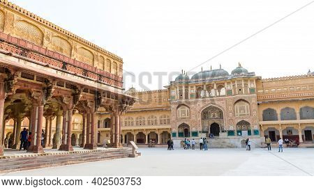 Jaipur, Rajasthan - 18 Oct, 2019 - Amer Fort, Amber Palace Is A Fort Located In Amer, Rajasthan, Ind