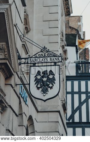 London, Uk - November 19, 2020: Old Barclays Bank Sign Outside A Branch In Fleet Street In The City