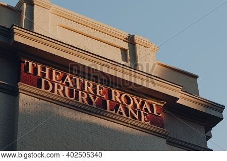 London, Uk - November 19, 2020: Name Sign On The Theatre Royal Drury Lane, A West End Theatre And Gr