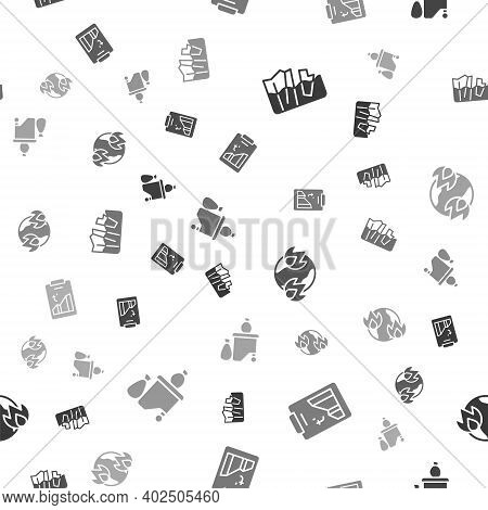 Set Glacier Melting, Global Warming, Fire And Full Dustbin On Seamless Pattern. Vector