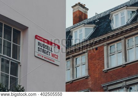 London, Uk - November 19, 2020: Street Name Signs On A Building In Russell Street In Covent Garden,