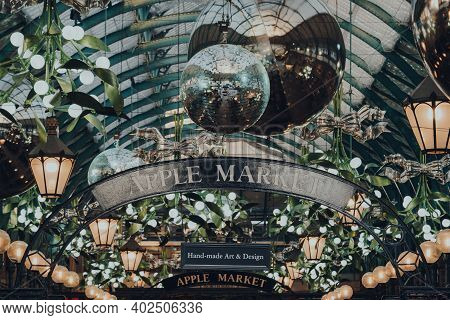 London, Uk - November 19, 2020: Christmas Decorations And Giant Baubles Inside Covent Garden Market,