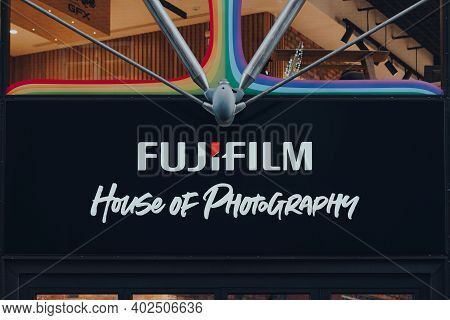 London, Uk - November 19, 2020: Entrance Name Sign Of Fujifilm House Of Photography Flagship Store I