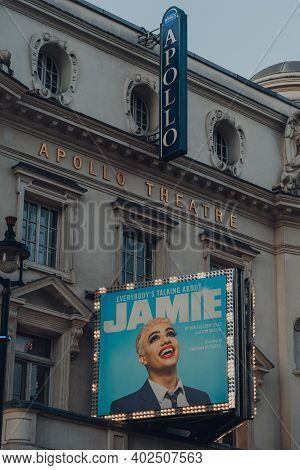 London, Uk - November 19, 2020: Facade Of The Apollo Theatre In London Hosting Everybody Is Talking