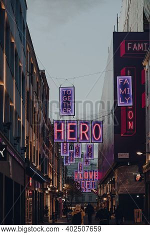 London, Uk - November 19, 2020:  Choose Love In Carnaby Themed Christmas Lights In Carnaby Street, P