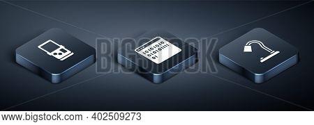 Set Isometric Tetris, Table Lamp And Binary Code Icon. Vector