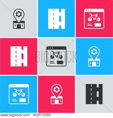 Set Bicycle Repair Service, Lane And Rental Mobile App Icon. Vector