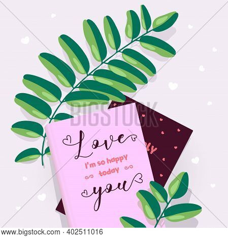 Vector Card For Valentine's Day On February 14, Declaration Of Love And Happiness, Congratulations O