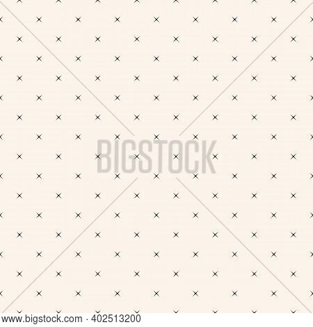 Vector Minimalist Seamless Pattern With Small Stars, Tiny Crosses. Simple Black And White Minimal Ge
