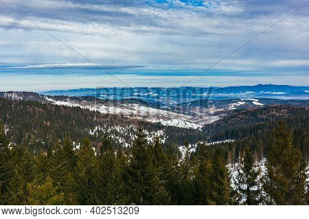 Winter Mountain Landscape In High Tatry, Slovakia.  Beautiful Cloudy Sky.