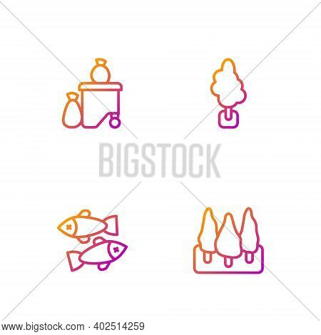 Set Line Forest, Dead Fish, Full Dustbin And Tree. Gradient Color Icons. Vector