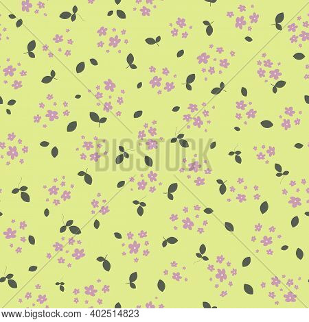 Vector Seamless Pattern With Small Pink Pretty Flowers And Leaves On Green Backdrop. Liberty Style W