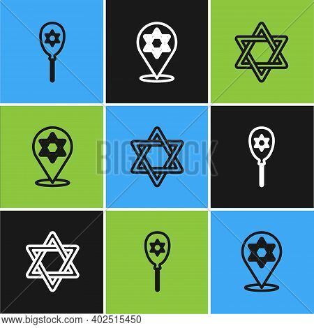 Set Line Balloon With Star Of David, Star David And Icon. Vector
