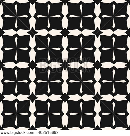Simple Vector Black And White Geometric Seamless Pattern. Abstract  Texture With Crosses, Diamonds,
