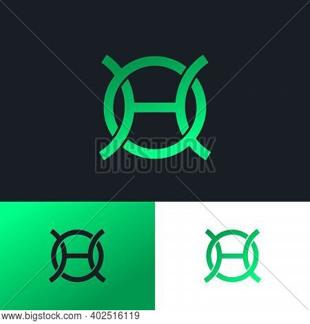 H And O Blue Monogram As A Fragment Of A Chain Link. Logo Can Be Used For Business, Production, Onli