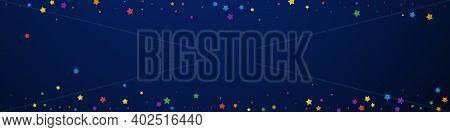 Festive Imaginative Confetti. Celebration Stars. Joyous Stars On Dark Blue Background. Actual Festiv