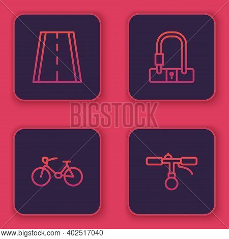 Set Line Bicycle Lane, , Lock And Handlebar. Blue Square Button. Vector