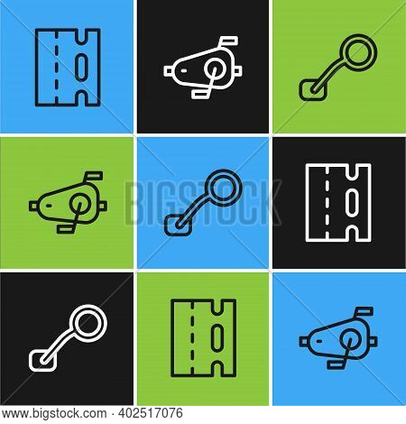 Set Line Bicycle Lane, Rear View Mirror And Pedals Icon. Vector