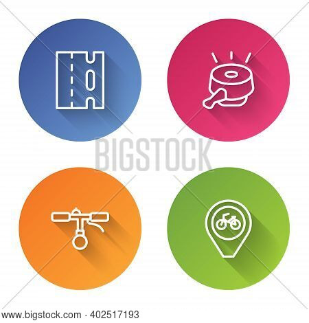 Set Line Bicycle Lane, Bell, Handlebar And Location With Bicycle. Color Circle Button. Vector