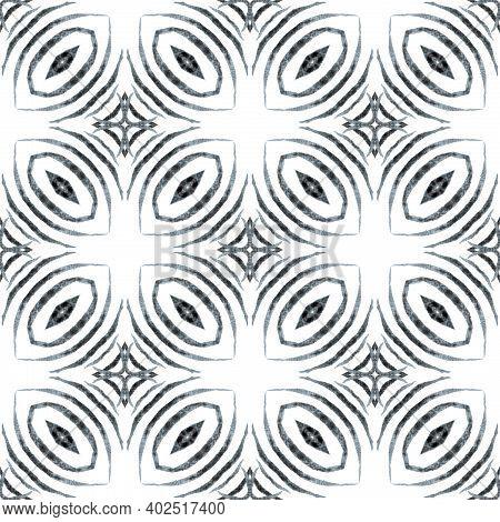 Ikat Repeating Swimwear Design. Black And White Ecstatic Boho Chic Summer Design. Watercolor Ikat Re