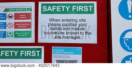9 January 2021 - London Uk: Building Site Safety Notice Hand Sanitisation