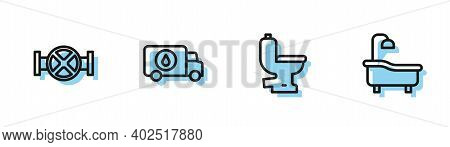 Set Line Toilet Bowl, Industry Pipe And Valve, Plumber Service Car And Bathtub Icon. Vector