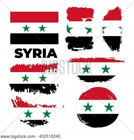 Brush Painted Grunge Flag Of Syria Country. Independence Day Of Syria.