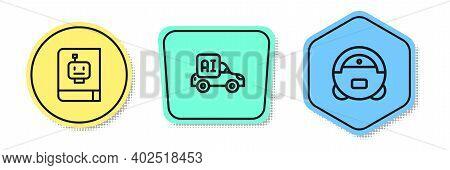 Set Line User Manual, Autonomous Smart Car And Robot Vacuum Cleaner. Colored Shapes. Vector