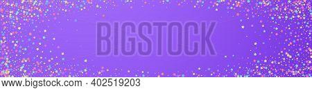 Festive Wonderful Confetti. Celebration Stars. Colorful Stars Dense On Violet Background. Alluring F