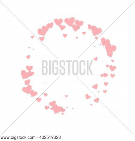 Pink Heart Love Confettis. Valentines Day Frame Decent Background. Falling Stitched Paper Hearts Con