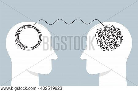 Abstract Concept Tangled Brain, Therapist, Patient. Two Humans Head Silhouette Psycho Therapy Concep