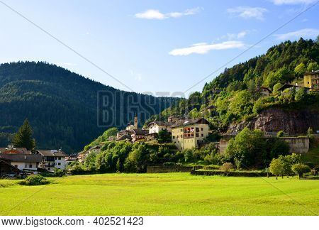 Molina di Fiemme,Italy - September 12, 2017 : View on the village Molina di Fiemme, Trentino Alto Adige,Sudtirol, Italy.