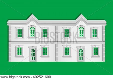 Paper House Isolated On Green Background. Origami City Building With Windows And Door. Cottage Exter