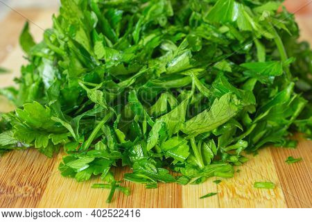 Macro Photo Of Green Fresh Parsley, Vegetable
