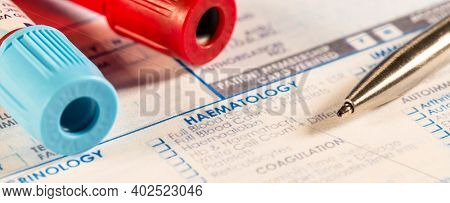 Check list of hematological blood tests