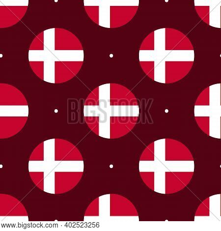 Vector Seamless Pattern Background With Round Shapes Flags Of Denmark And Dots For Flag Day And Othe