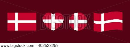 Set, Collection Of Design Elements With Flags Of Denmark In Different Shapes For Flag Day And Other