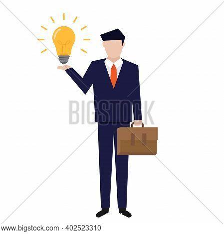 Businessman Idea, Businessman Hand Hold Light Bulb, Flat Design Vector Illustration