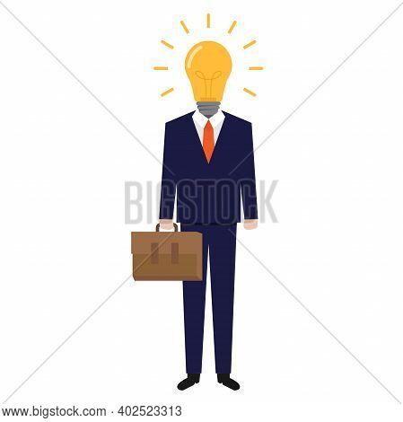Businessman Idea, Businessman Head Light Bulb, Flat Design Vector Illustration