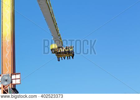 Auxerre, Burgundy, France - May 13, 2012: Young People Have Fun In An Amusement Park. Amusement Park
