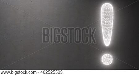 Exclamation Mark On Black Wall Background. Copy Space. 3D Illustration