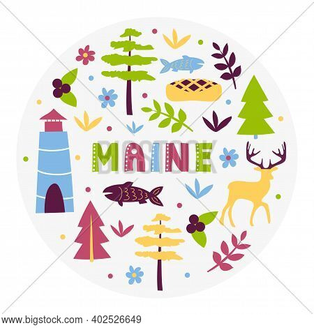 Usa Collection. Vector Illustration Of Maine Theme. State Symbols - Round Shape