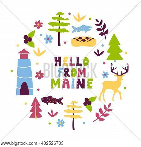 Usa Collection. Hello From Maine Theme. State Symbols Round Shape Card