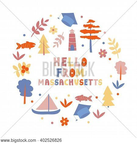 Usa Collection. Hello From Massachusetts Theme. State Symbols Round Shape Card