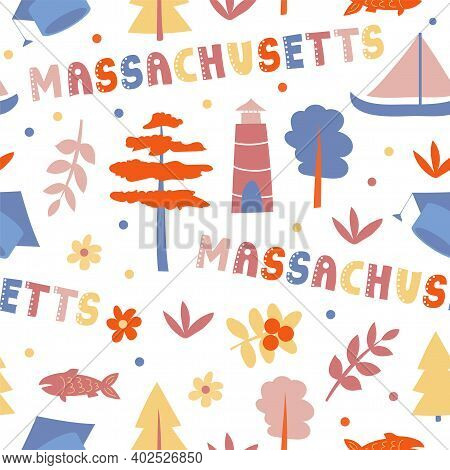 Usa Collection. Vector Illustration Of Massachusetts Theme. State Symbols - Seamless Pattern