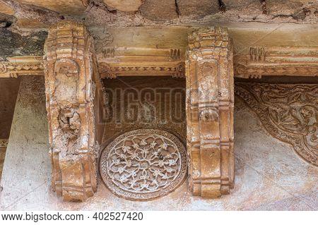 Hampi, Karnataka, India - November 5, 2013: Zanana Enclosure. Closeup Of Decorated Brown Stone Studs