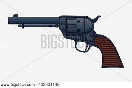 Revolver Pistol Vector Isolated Illustration. Vintage Colt Revolver Drawing