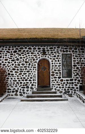 Wooden Door Entrance Doorway Historical Stone Rock House Building Farmstead Mansion Skriduklaustur F