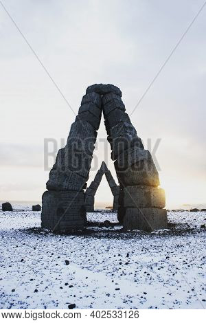 Panorama Winter View Of Monument Arches Basalt Blocks Art Stone Construction Arctic Henge In Raufarh